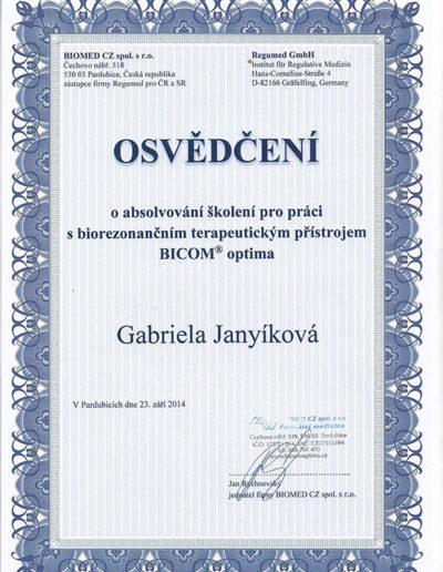 Certifikát 3 Janyíková