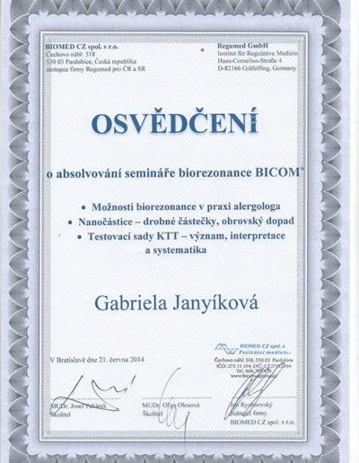 Certifikát 6 Janyíková